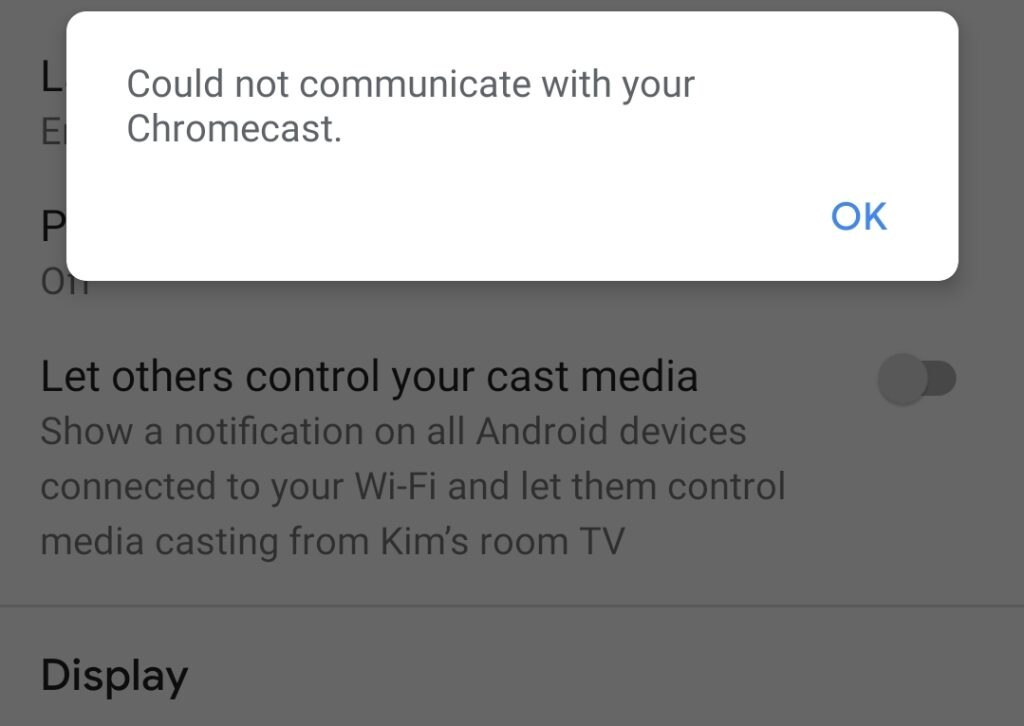 Could Not Communicate With Your Chromecast